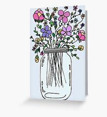 Mason Jar with Flowers Greeting Card