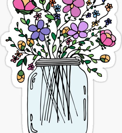 Mason Jar with Flowers Sticker