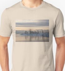 Two Swans, Sleeping - Serene Winter Lake Scene Unisex T-Shirt
