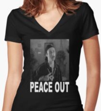 Peace Out - Napoleon Dynamite Women's Fitted V-Neck T-Shirt