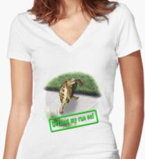 Tortoise - Getting my run on Women's Fitted V-Neck T-Shirt