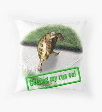 Tortoise - Getting my run on Throw Pillow