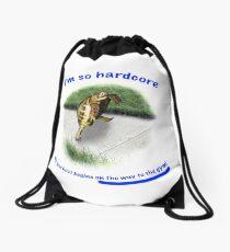 Tortoise - hardcore workout Drawstring Bag