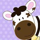 Cute Happy Cow -  Light Purple Dot by JessDesigns