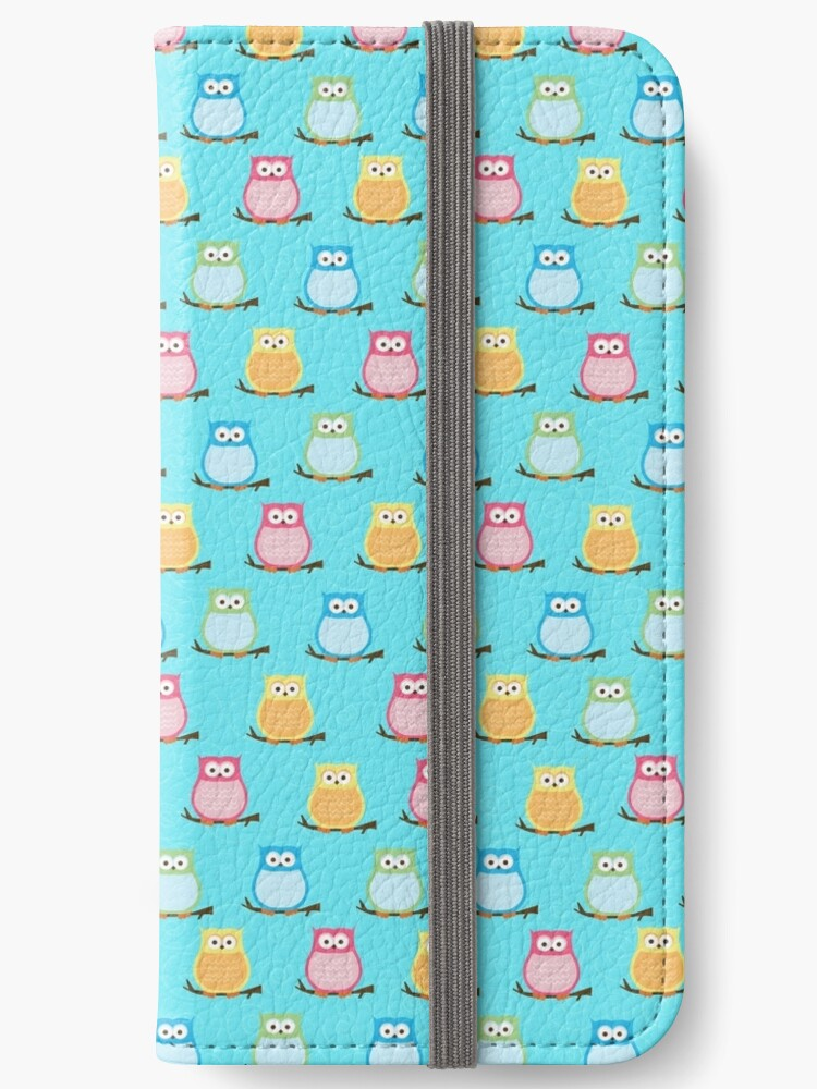 Trendy Multi-Color Owls on a Branch - Teal by JessDesigns