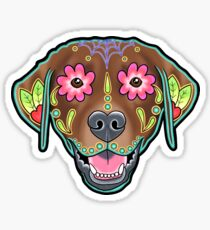 Labrador Retriever in Chocolate - Day of the Dead Lab Sugar Skull Dog Sticker