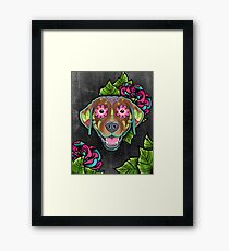Labrador Retriever in Chocolate - Day of the Dead Lab Sugar Skull Dog Framed Print