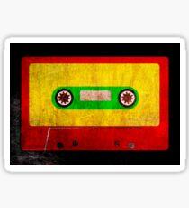 Reggae Flag Cassette Tape - Cool Grunge Reggae Music Design Sticker