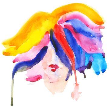 watercolor girl by anastasiadueva