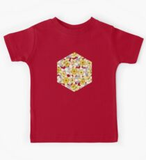 Daffodil Daze - yellow & grey daffodil illustration pattern Kids Tee