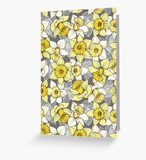 Daffodil Daze - yellow & grey daffodil illustration pattern Greeting Card