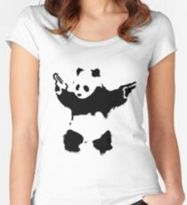 Banksy - Panda With Guns Women's Fitted Scoop T-Shirt
