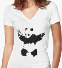 Banksy - Panda With Guns Women's Fitted V-Neck T-Shirt