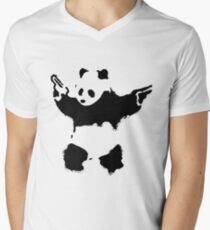 Banksy - Panda With Guns Men's V-Neck T-Shirt