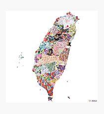 Taiwan map Photographic Print
