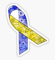 Blue and yellow ribbon Sticker