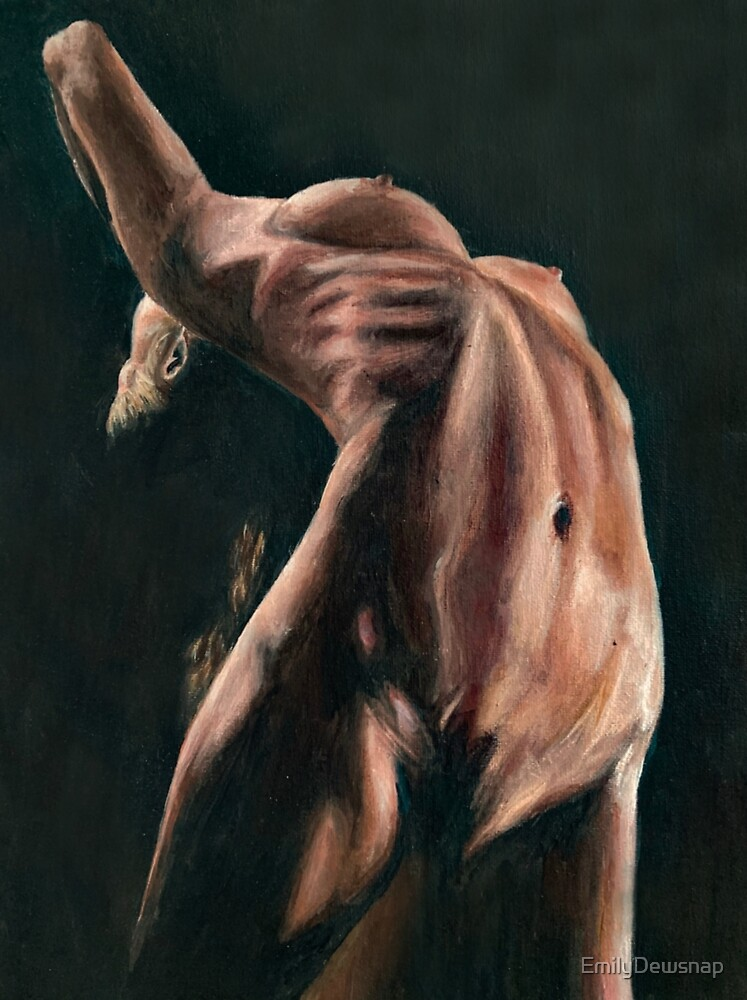 Contort - Figurative Painting Study of a Flexible Dancer Bending Backwards by EmilyDewsnap