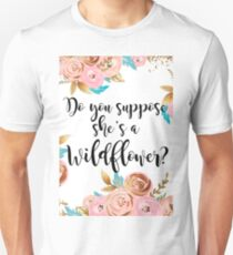 Blush pink and gold wildflower Unisex T-Shirt