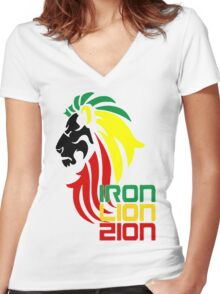 Reggae Rasta Iron, Lion, Zion 2 Women's Fitted V-Neck T-Shirt