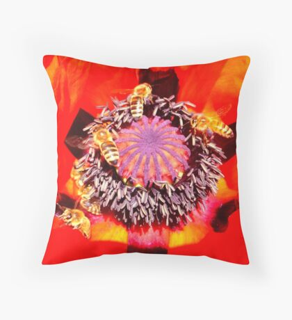Poppy and Bees Throw Pillow