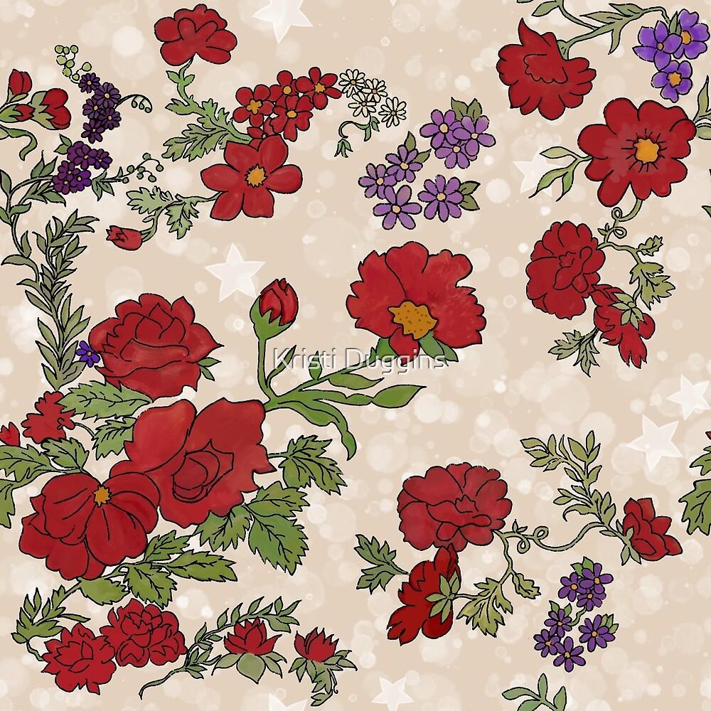 Cottage Rose on Light Cream  by Kristi Duggins