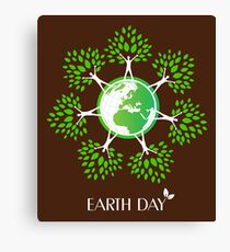 Earth Day Tree People Canvas Print