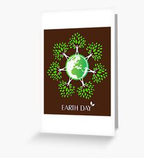 Earth Day Tree People Greeting Card