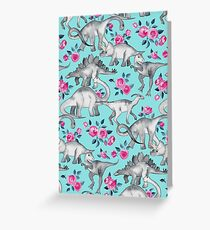Dinosaurs and Roses – turquoise blue  Greeting Card