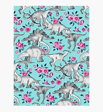 Dinosaurs and Roses – turquoise blue  Photographic Print