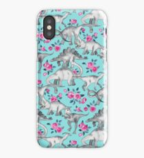 Dinosaurs and Roses – turquoise blue  iPhone Case/Skin
