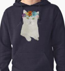 White cat in flower crown Pullover Hoodie
