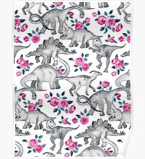 Dinosaurs and Roses – white Poster