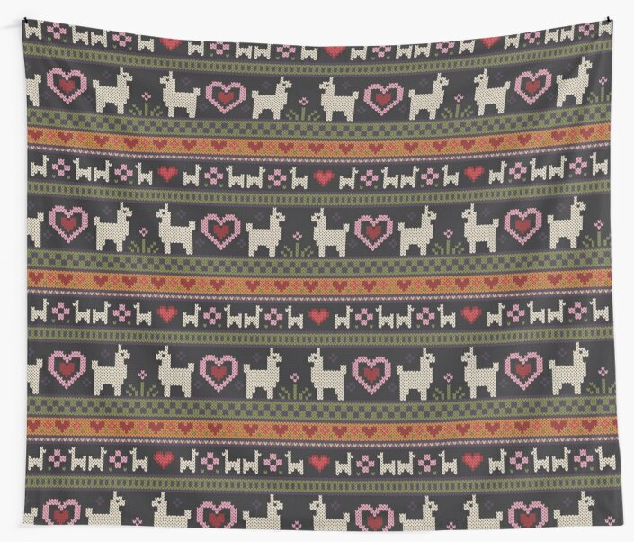 Llama Knit Wall Tapestries By Kelsey Cretcher Redbubble