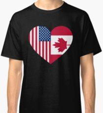 USA Canada flag heart Classic T-Shirt