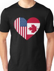 USA Canada flag heart Unisex T-Shirt