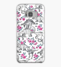 Dinosaurs and Roses – white Samsung Galaxy Case/Skin