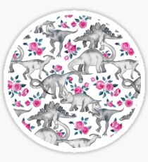 Dinosaurs and Roses – white Sticker
