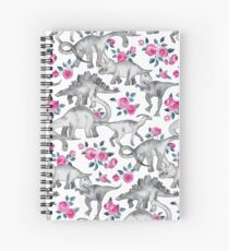 Dinosaurs and Roses – white Spiral Notebook