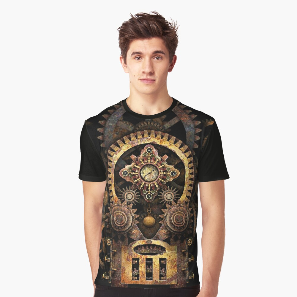 Infernal Steampunk Vintage Machine #2B Graphic T-Shirt Front