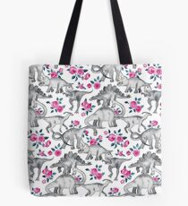 Dinosaurs and Roses – white Tote Bag