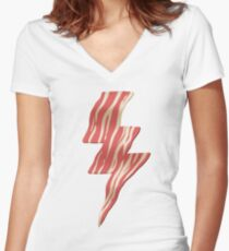 powered by bacon Women's Fitted V-Neck T-Shirt