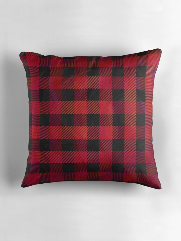 Quot Checkered Plaid Red And Black Quot Throw Pillows By