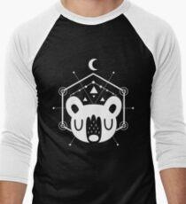 Moon Bear Geometric Design in White Men's Baseball ¾ T-Shirt