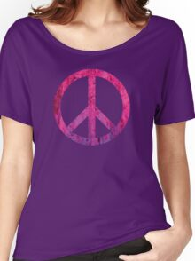 Peace Sign - Grunge Texture with Scratches Women's Relaxed Fit T-Shirt