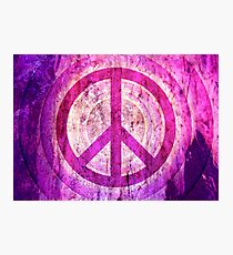 Peace Sign - Grunge Texture with Scratches Photographic Print
