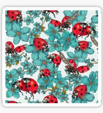 Happy Ladybugs with flowers Sticker
