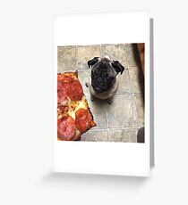 Pugsley The Pug Loves Pizza Greeting Card