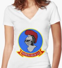 VP-46 Grey Knights Old Crest Women's Fitted V-Neck T-Shirt