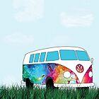 VW Rainbow Hippie Bus! by Maggie Smith