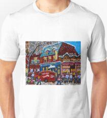 MONTREAL LANDMARK MOISHE'S STEAK HOUSE WINTER URBAN SCENE T-Shirt